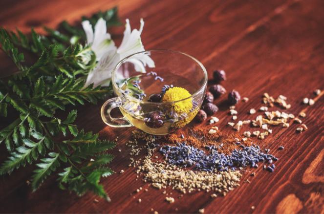 Herbal Teas Clear Glass Tea Cup Wood Table